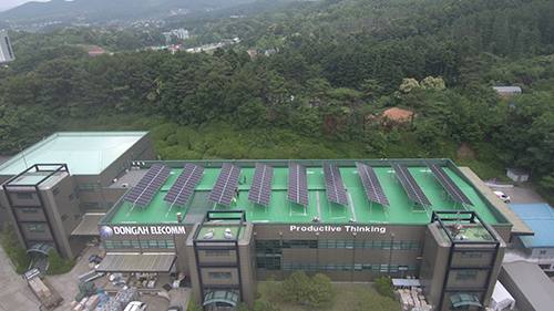 Solar panel installation at DongAh headquarters